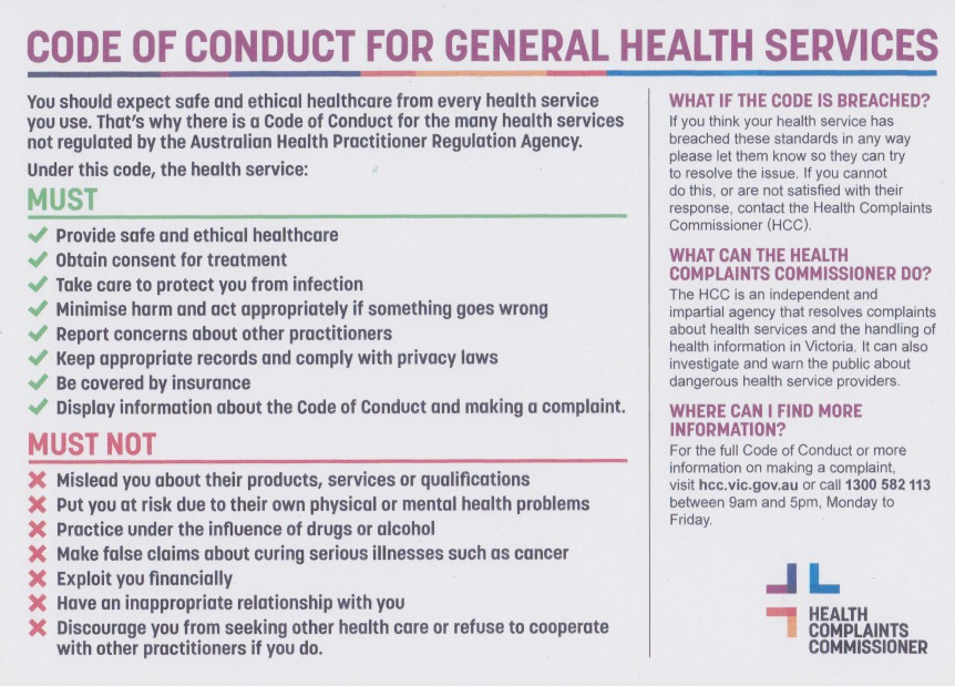 Code Of Conduct for General Health Services - Summary