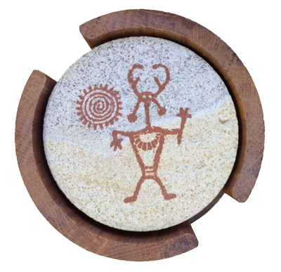 Sandstone coasters with Native American Shaman and Spiral Sun symbols